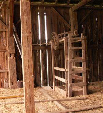 Inside of President Herbert Hoover's Boyhood Barn in Newberg, OR Showing Doug Fir Hand Hewn Timbers